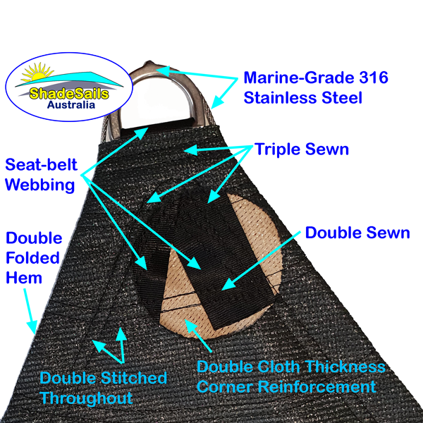 We are very proud of the way we make our corners. To ensure strength and quality we use double-layer corner patches, double and triple sewn areas, seat-belt ring webbing, marine-grade 316 wire and rings and double folded hems.